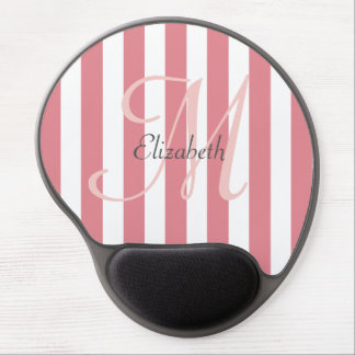 Pink and White Striped Monogram Personalized Gel Mouse Pad