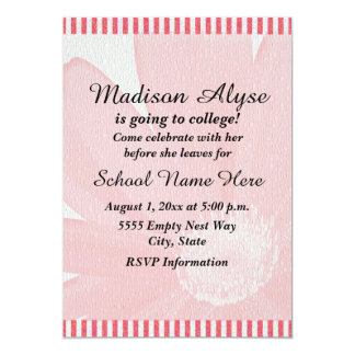"""Pink and White Striped  """"Off To College"""" Invite"""