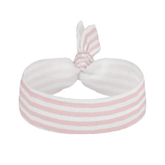 Pink and White Striped Pattern Ribbon Hair Ties