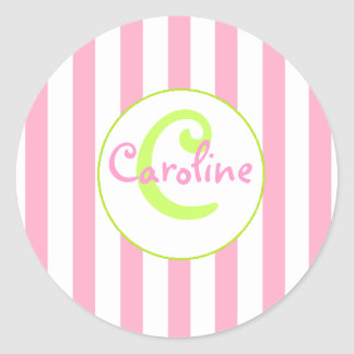 Pink and White Striped Sticker with Lime Accents