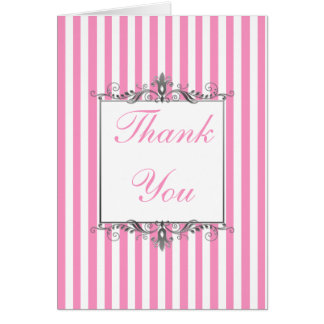 Pink and White Striped Thank You Card