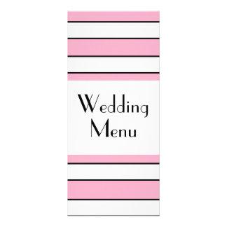 Pink And White Striped Wedding Menu