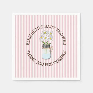 Pink and White Striped with Mason Jar Baby Shower Napkin