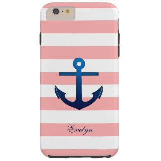 Pink and White Stripes Anchor Custom Monogram Tough iPhone 6 Plus Case