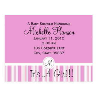 Pink and White Stripes Baby Shower Inivitation Postcard