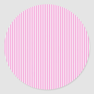 Pink and White Stripes Classic Round Sticker