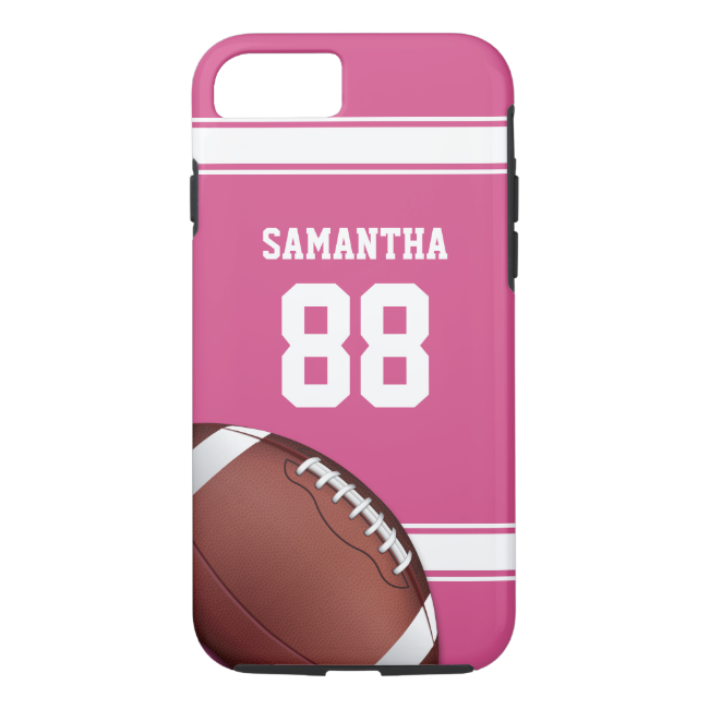 Pink and White Stripes Jersey Football iPhone 7 Case