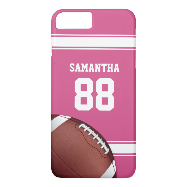 Pink and White Stripes Jersey Football iPhone 7 Plus Case