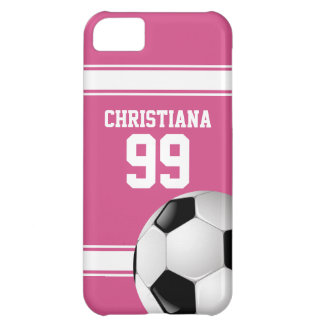 Pink and White Stripes Jersey Soccer Ball iPhone 5C Cases