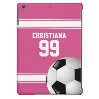 Pink and White Stripes Jersey Soccer Ball Case For iPad Air