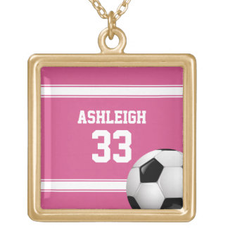 Pink and White Stripes Jersey Soccer Ball Gold Plated Necklace