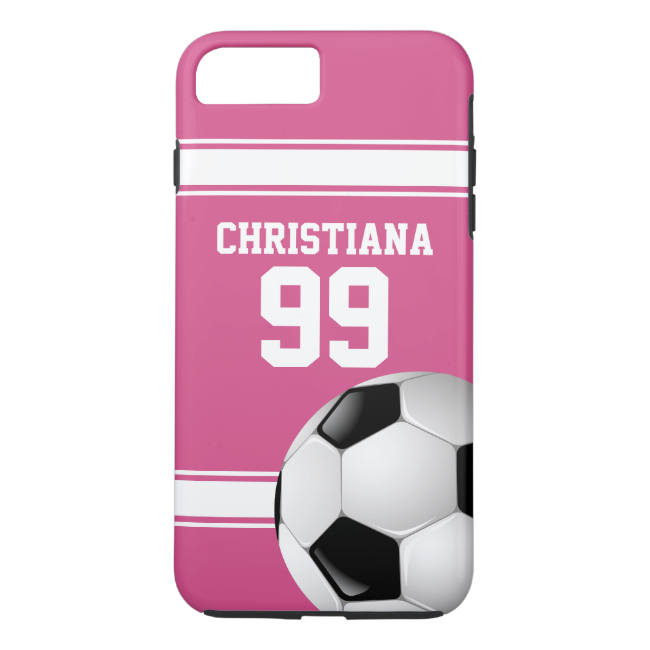 Pink and White Stripes Jersey Soccer Ball iPhone 7 Plus Case