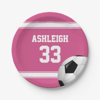 Pink and White Stripes Jersey Soccer Ball Paper Plate