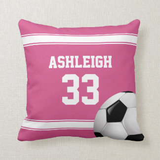 Pink and White Stripes Jersey Soccer Ball Pillow