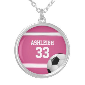 Pink and White Stripes Jersey Soccer Ball Silver Plated Necklace