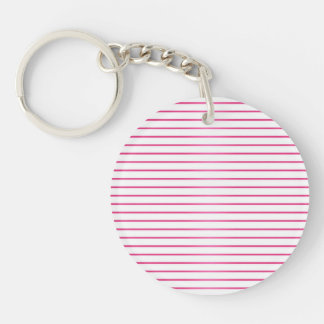 Pink and White Stripes Keychain
