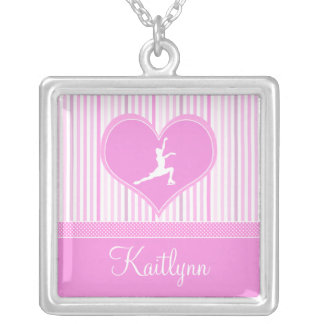 Pink and White Stripes / Polka-Dots Figure Skater Silver Plated Necklace