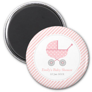 Pink and White Stripes, Stroller, Baby Girl Shower 2 Inch Round Magnet