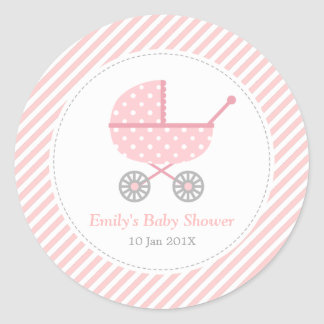 Pink and White Stripes, Stroller, Baby Girl Shower Classic Round Sticker