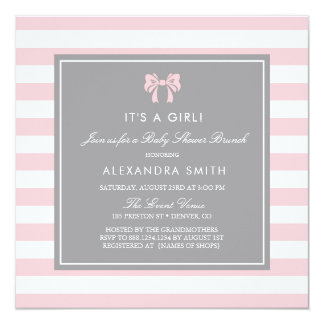 Pink and White Stripes with Bow Baby Shower Brunch Invitation