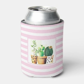 Pink and White Stripes with Cactus Succulents Foam Can Cooler