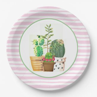 Pink and White Stripes with Cactus Succulents Paper Plate