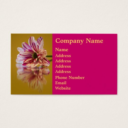 Pink and White Stripey Gerbera Flower Business Card