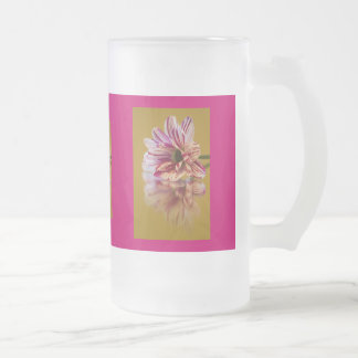 Pink and White Stripey Gerbera Flower Glass 16 Oz Frosted Glass Beer Mug