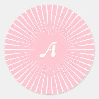 Pink and White Sunrays Monogram Round Stickers