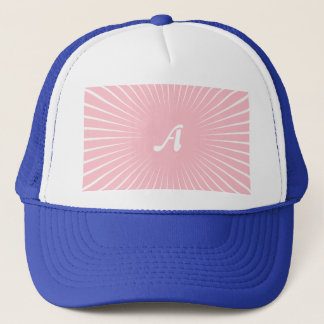 Pink and White Sunrays Monogram Trucker Hat