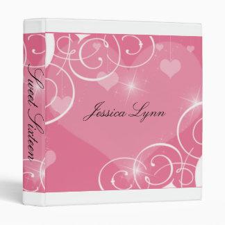 Pink and White Sweet Sixteen Photo Album 3 Ring Binder