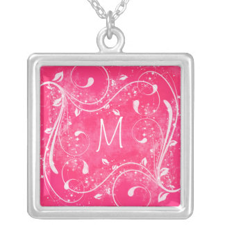 Pink and White Swirls Monogram Necklace
