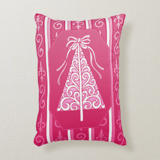Pink And White Swirls Stripes Christmas Tree Accent Pillow