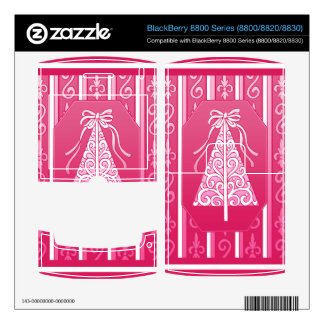 Pink And White Swirls Stripes Christmas Tree Decal For BlackBerry 8830