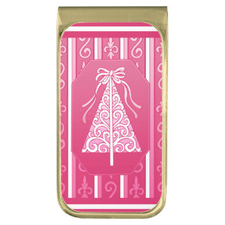 Pink And White Swirls Stripes Christmas Tree Gold Finish Money Clip