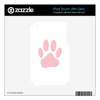 Pink And White Tartan Dog Paw Print iPod Touch 4G Decal