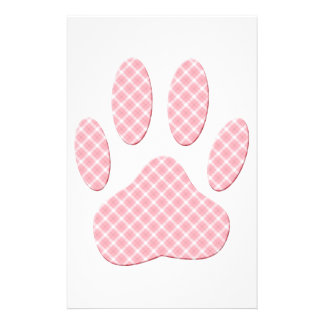 Pink And White Tartan Dog Paw Print Stationery