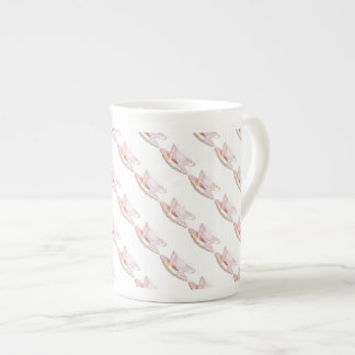 Pink and White Teacup with Roses Bone China Mug Tea Cup
