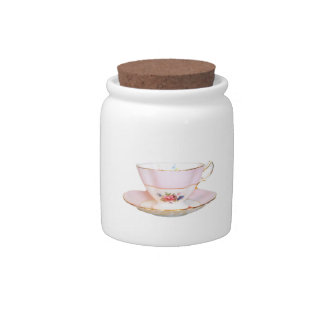 Pink and White Teacup with Roses Sugar Jar Candy Dishes