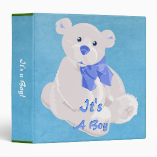 Pink and White Teddy Bear Binder