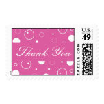 Pink and White Thank You Bubbles Postage