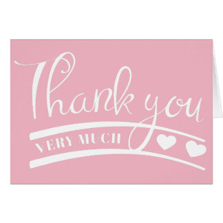 Pink and White Thank You Heart Wedding Party Card