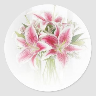 pink and white tiger lilies classic round sticker