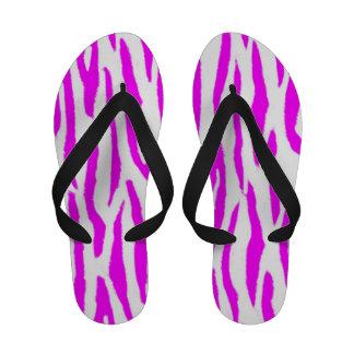 Pink and White Tiger Print Flip Flops