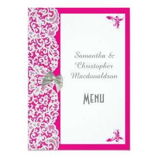 Pink and white traditional lace wedding menu card