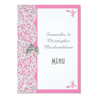 Pink and white traditional lace wedding menu 5x7 paper invitation card