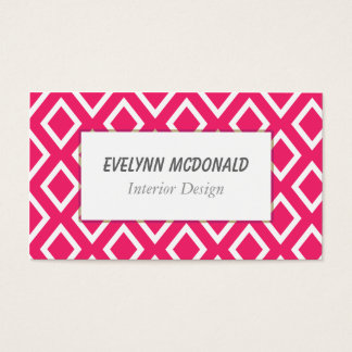 Pink and White Trendy Geometrical Pattern Business Card