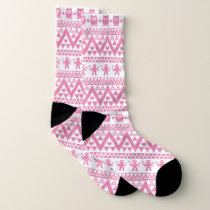 Pink and white tribal pattern socks