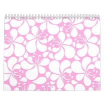 Pink and white tropical floral calendar