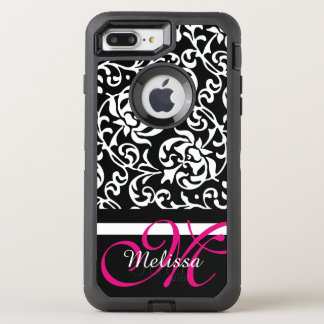 Pink and White Tudor Damask Name and Monogram OtterBox Defender iPhone 7 Plus Case